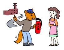 消火器の悪質訪問販売イラスト